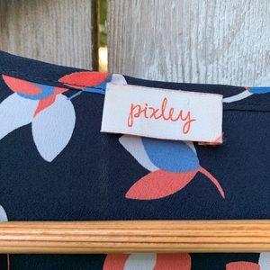 Pixley Tops - Stitch Fix Pixley   Floral Navy V-Neck Blouse